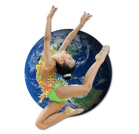 Gymnast with earth background