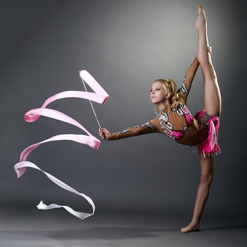 Rhythmic Gymnast using a ribbon as her apparatus