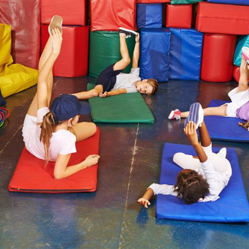 Kids doing stretching exercises