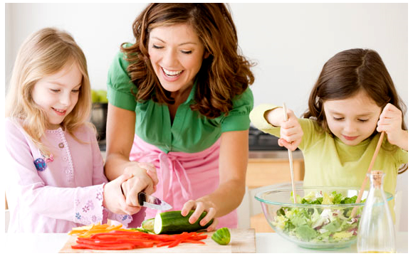 Kids Preparing Food With Mother